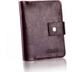 5362e52aba9fb Cienki skórzany męski portfel SOLIER CIEMNY BRĄZ. Pomarańczowe portfele  męskie Solier