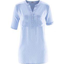 Bluzki damskie: Bluzka tunikowa, krótki rękaw bonprix pudrowy niebieski – biały w kropki