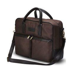 CIDRO Męska torba na ramię na laptopa brązowa. Brązowe torby na ramię męskie marki Solier, w paski, ze skóry ekologicznej. Za 169,00 zł.