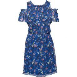Sukienki hiszpanki: Sukienka z odkrytymi ramionami bonprix niebieski w kwiaty