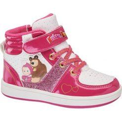 Buciki dziecięce Masha and the bear różowe. Czerwone buciki niemowlęce chłopięce Masha and the bear, z materiału, na sznurówki. Za 99,90 zł.