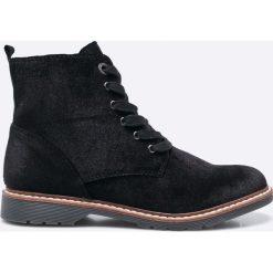 S. Oliver - Botki. Czarne buty zimowe damskie S.Oliver, z materiału, z okrągłym noskiem, na obcasie, na sznurówki. W wyprzedaży za 169,90 zł.