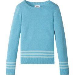 Sweter dzianinowy bonprix turkusowy. Czarne swetry dziewczęce marki bonprix, w paski, z dresówki. Za 21,99 zł.