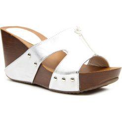 Buty ślubne damskie: Klapki damskie na koturnie srebrne Jezzi