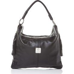 Torebki klasyczne damskie: Skórzana torebka w kolorze czarnym - 36 x 26 x 15 cm