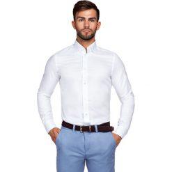 Koszula Biała Fiore. Białe koszule męskie na spinki LANCERTO, na lato, m, z haftami, z bawełny. Za 299,90 zł.