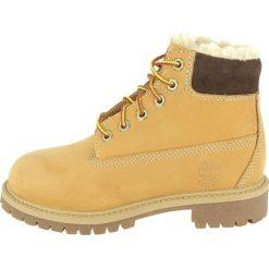 Timberland Botki sznurowane beige. Brązowe buty zimowe damskie marki Timberland, z materiału, na sznurówki. W wyprzedaży za 501,75 zł.