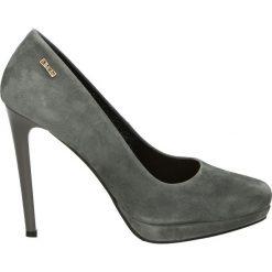 Czółenka - 5077 892 GRIG. Szare buty ślubne damskie Venezia, ze skóry, na platformie. Za 199,00 zł.