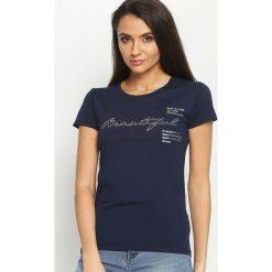 Bluzki asymetryczne: Granatowy T-shirt Change