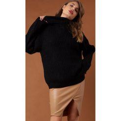Swetry oversize damskie: NA-KD Trend Sweter z grubej dzianiny - Black