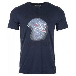 Mustang T-Shirt Męski Printed Xl Ciemnoniebieski. Czarne t-shirty męskie marki Mustang, l, z bawełny, z kapturem. Za 99,00 zł.