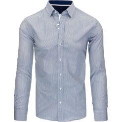 Koszule męskie na spinki: Biało-granatowa koszula męska w paski (dx1074)