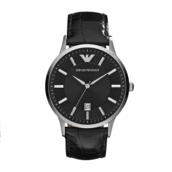 Zegarek EMPORIO ARMANI - Renato AR2411 Black/Steel. Czarne zegarki męskie Emporio Armani. Za 950,00 zł.