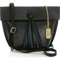 Torebki klasyczne damskie: Skórzana torebka w kolorze czarnym – 35 x 30 x 20 cm