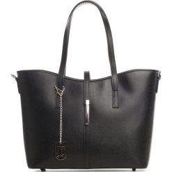 Torebki klasyczne damskie: Skórzana torebka w kolorze czarnym – 40 x 27 x 14 cm