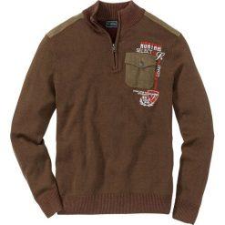 Sweter ze stójką bonprix brązowy. Brązowe golfy męskie marki bonprix, l, z haftami. Za 79,99 zł.