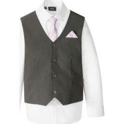 Koszule męskie na spinki: Kamizelka + koszula + krawat (3 części) bonprix antracytowo-biały