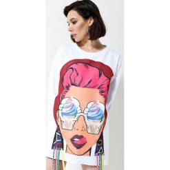 Bluzy damskie: Biała Bluza Brand New Face