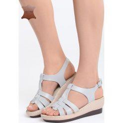 Szare Skórzane Sandały Creature Comforts. Szare sandały damskie marki Born2be, z materiału, na koturnie. Za 54,99 zł.