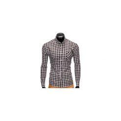 KOSZULA MĘSKA W KRATĘ Z DŁUGIM RĘKAWEM K394 - CZARNA. Czarne koszule męskie na spinki Ombre Clothing, m, z długim rękawem. Za 69,00 zł.