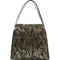 Torebki klasyczne damskie: Skórzana torebka w kolorze czarnym ze wzorem – (S)23 x (W)25 x (G)13 cm