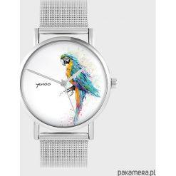Zegarki damskie: Zegarek - Turkusowa papuga - metalowy