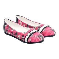 Baleriny damskie lakierowane: Baleriny w kolorze różowo-czarnym ze wzorem
