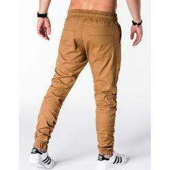 SPODNIE MĘSKIE JOGGERY P707 - RUDE. Brązowe joggery męskie marki Ombre Clothing. Za 79,00 zł.