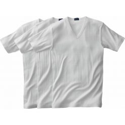 T-shirt prążkowany z dekoltem w serek (3 sztuki). Białe podkoszulki męskie marki B'TWIN, m, z elastanu, z krótkim rękawem. Za 102,86 zł.
