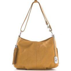 Torebki klasyczne damskie: Skórzana torebka w kolorze musztardowo-jasnobrązowym – 30 x 20 x 8 cm