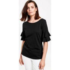 Koszulka z falbankami. Szare bluzki z falbaną marki Taifun, z bawełny, z falbankami, z krótkim rękawem. Za 29,95 zł.