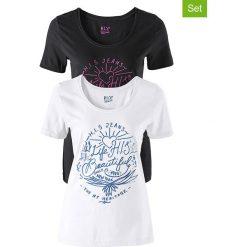 Koszule nocne i halki: Koszulki (2 szt.) w kolorze czarnym i białym