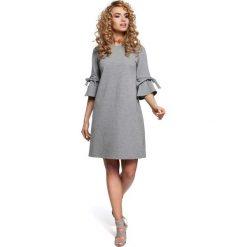 Sukienki: Szara Sukienka Trapezowa z Rozkloszowanymi Rękawami