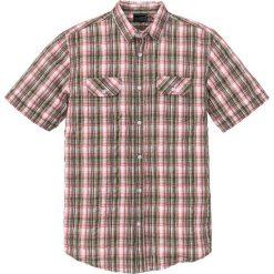 Koszule męskie na spinki: Koszula z kory Regular Fit bonprix ciemnooliwkowy-koralowy w kratę