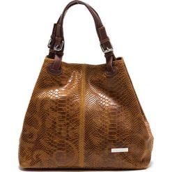 Torebki klasyczne damskie: Skórzana torebka w kolorze koniaku – 37 x 30 x 16 cm