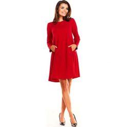 Czerwona Sukienka Oversize z Suwakami na Rękawach. Czerwone sukienki mini Molly.pl, do pracy, l, biznesowe, z długim rękawem, oversize. Za 139,90 zł.