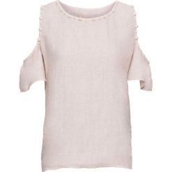 Bluzki damskie: Bluzka lniana z wycięciami na ramionach i perełkami bonprix różowy