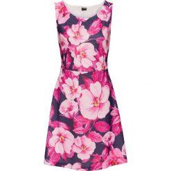 Sukienki: Sukienka z dżerseju z kwiatowym nadrukiem bonprix ciemnoniebiesko-jasnoróżowy z nadrukiem