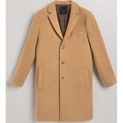 Płaszcz z wełną - Beżowy. Brązowe płaszcze na zamek męskie Reserved, l, z wełny. Za 499,99 zł.