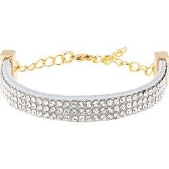Bransoletki damskie: Skórzana bransoletka w kolorze jasnoszaro-złotym