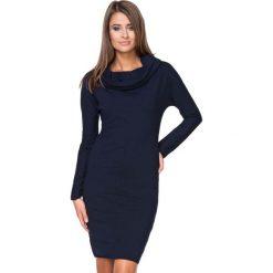Granatowa Sukienka Dresowa Dopasowana z Lejącym Golfem. Niebieskie sukienki dresowe marki Molly.pl, na co dzień, l, z golfem, z długim rękawem, midi, dopasowane. Za 139,90 zł.