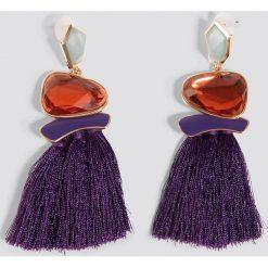 Trendyol Kolczyki z chwostami i kamieniami - Purple. Fioletowe kolczyki damskie Trendyol, metalowe. Za 60,95 zł.