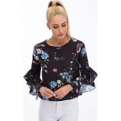 Bluzki damskie: Czarna bluzka w kwiaty 8301