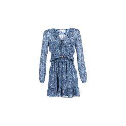 Sukienki krótkie MICHAEL Michael Kors  RFL SMOCKED MINI DRS. Niebieskie sukienki mini marki MICHAEL Michael Kors, l, z krótkim rękawem. Za 989,00 zł.