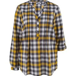 Tunika bluzkowa, długi rękaw bonprix szafranowy w kratę. Fioletowe tuniki damskie z długim rękawem marki bonprix, w paski, z dzianiny, moda ciążowa. Za 37,99 zł.