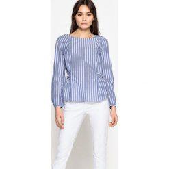 Bluzki asymetryczne: Bluzka w paski, wiązana po bokach, długi rękaw