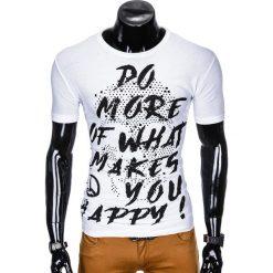 T-SHIRT MĘSKI Z NADRUKIEM S1002 - BIAŁY. Białe t-shirty męskie z nadrukiem Ombre Clothing, m. Za 19,99 zł.