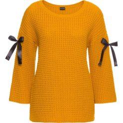 Swetry klasyczne damskie: Sweter dzianinowy z wiązanymi paskami bonprix żółty musztardowy