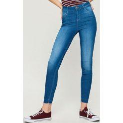 Jeansy skinny mid waist - Niebieski. Niebieskie spodnie z wysokim stanem Sinsay, z jeansu. Za 59,99 zł.