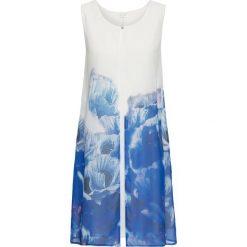 Sukienka z szyfonową narzutką w kwiaty bonprix biało-ciemnoniebieski. Czarne bolerka i narzutki damskie marki bonprix, na co dzień, z szyfonu. Za 119,99 zł.